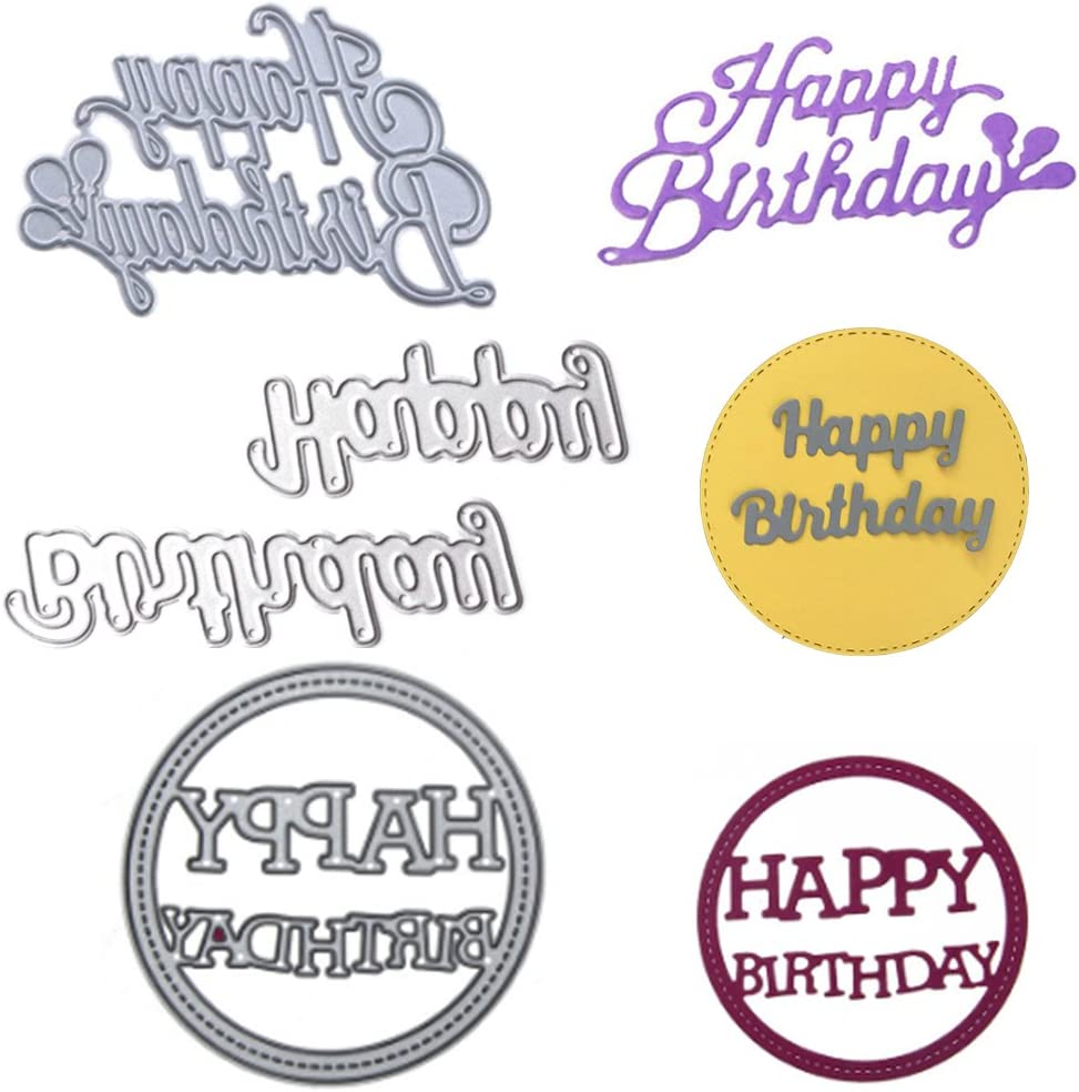 3 Pack Happy Birthday Die-Cuts for Card Making, Buytra Metal Cutting Dies Stencil Template for Scrapbooking, Photo Album Paper DIY Crafts