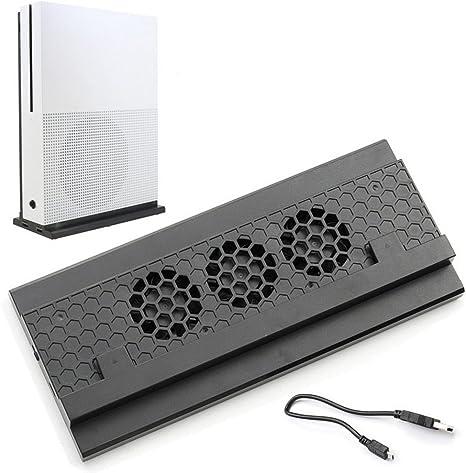 Soporte de enfriamiento vertical ADZ Xbox One S, 3 ventiladores y 2 puertos USB HUB para carga y transferencia de datos: Amazon.es: Videojuegos