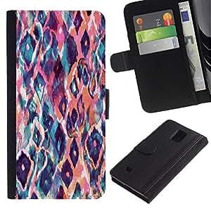 Samsung Galaxy Note 4 IV / SM-N910 Modelo colorido cuero carpeta tirón caso cubierta piel Holster Funda protección - Watercolor Teal Orange