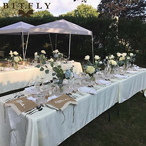 GSN 10pcs rectangle Satin Tablecloth Table Cloth Cover Wedding birthday party Christmas Banquet hotel Restaurant DIY Decor whi white -