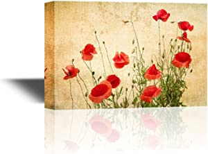 wall26 - Canvas Wall Art - Red Poppy Flowers on Vintage Abstract Background - Gallery Wrap Modern Home Art | Ready to Hang - 16x24 inches