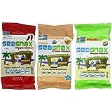 SeaSnax Gluten Free Vegan Premium Roasted Seaweed Snack 3 Flavor 12 Pack Variety Bundle: (4) Chipotle SeaSnax, (4) Onion SeaSnax, and (4) Wasabi SeaSnax, .18 Oz. Ea. (12 Bags Total)