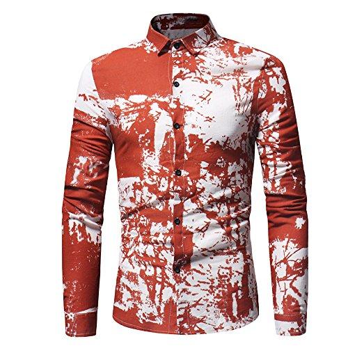 QBQCBB Personality Men's Casual Shirt Slim Fit Long-Sleeved Printed Top Blouse (Orange,XL) ()