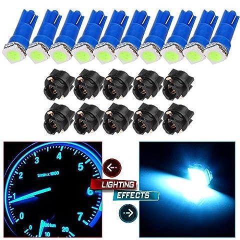 CCIYU 10x Ice Blue LED & 10x Sockets Dash Instrument Panel Light Bulb T5 70 73 74 Used For side markers, running lights, corner & bumper lights, license plate lights - 1999 Toyota Camry Bumper