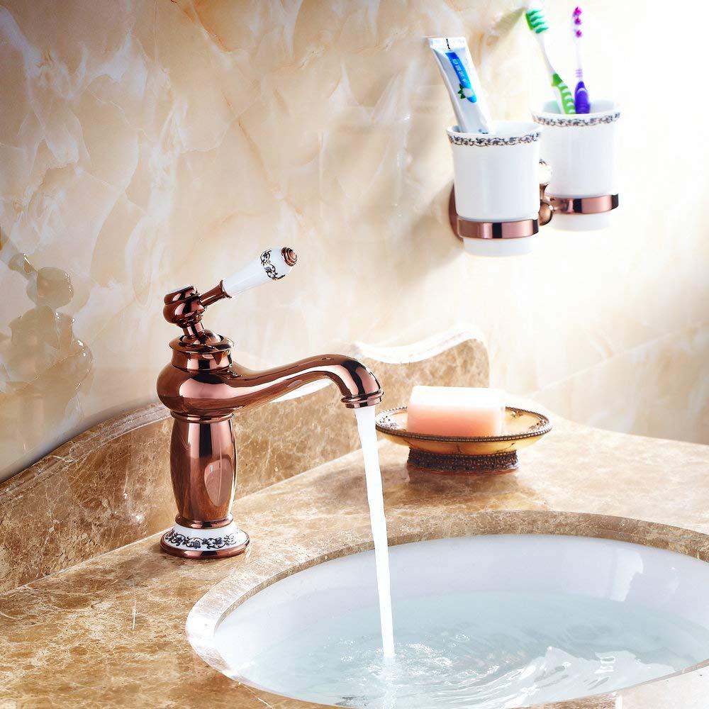 Hiendure Robinet Cuivre Mitigeur Lavabo Salle de Bain Robinet Bronze huil/é Mitigeur Robinet de Lavabo en Laiton /& C/éramique avec lentr/ée deau pour Cuisine Salle de bain