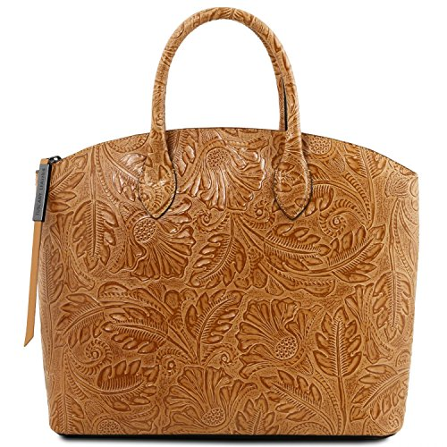 Tuscany Leather Gaia Leather tote with floral pattern Cognac by Tuscany Leather
