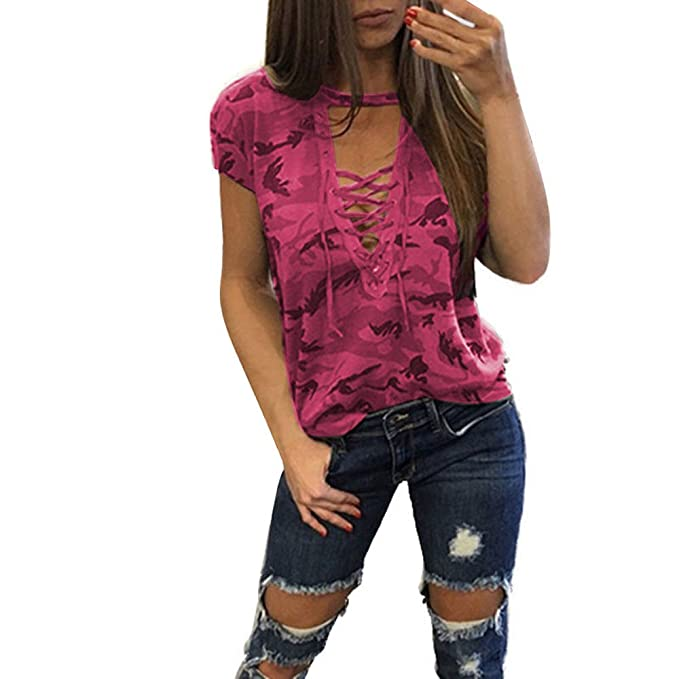 29ff8e1d690dbc Wensy 2018 New Clearance Women Short Sleeve Shirt Slim Casual Blouse  Camouflage Print Tops