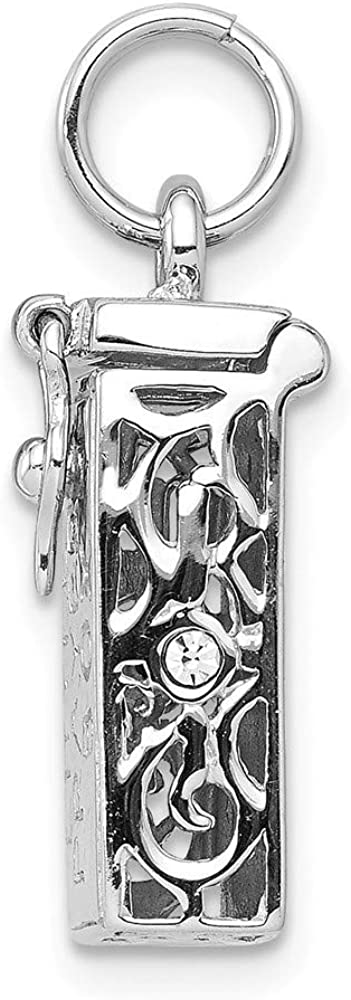 8mm 925 Sterling Silver Rhodium-plated Polished Cubic Zirconia Little Prayer Box Pendant