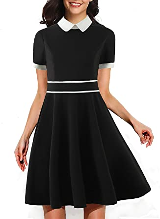 cb59558c689 Women s 50s Vintage Chic Peter Pan Collar Casual Party Dress Elegant Wear  to Work A line Dresses 269 at Amazon Women s Clothing store