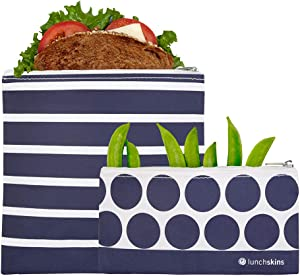 Lunchskins Reusable Zippered 2-Pack Set, Food, Storage Bags, 1 Sandwich + 1 Snack, Navy Stripe