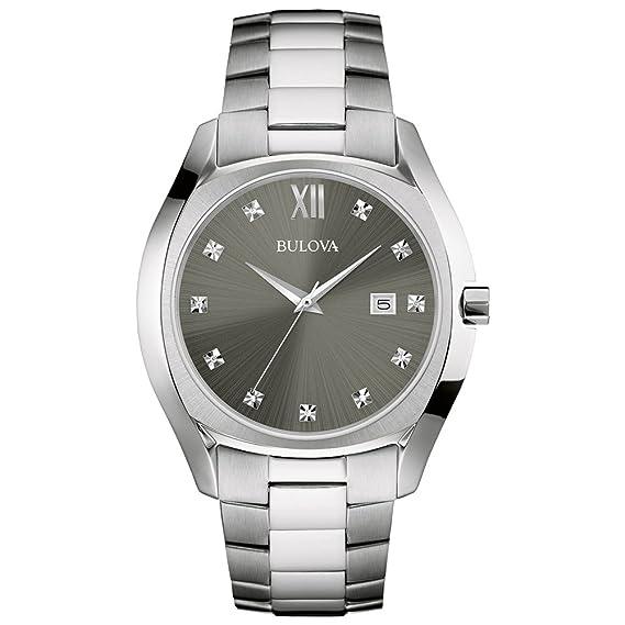 Bulova Reloj Analogico para Hombre de Cuarzo con Correa en Acero Inoxidable 96D122: Amazon.es: Relojes