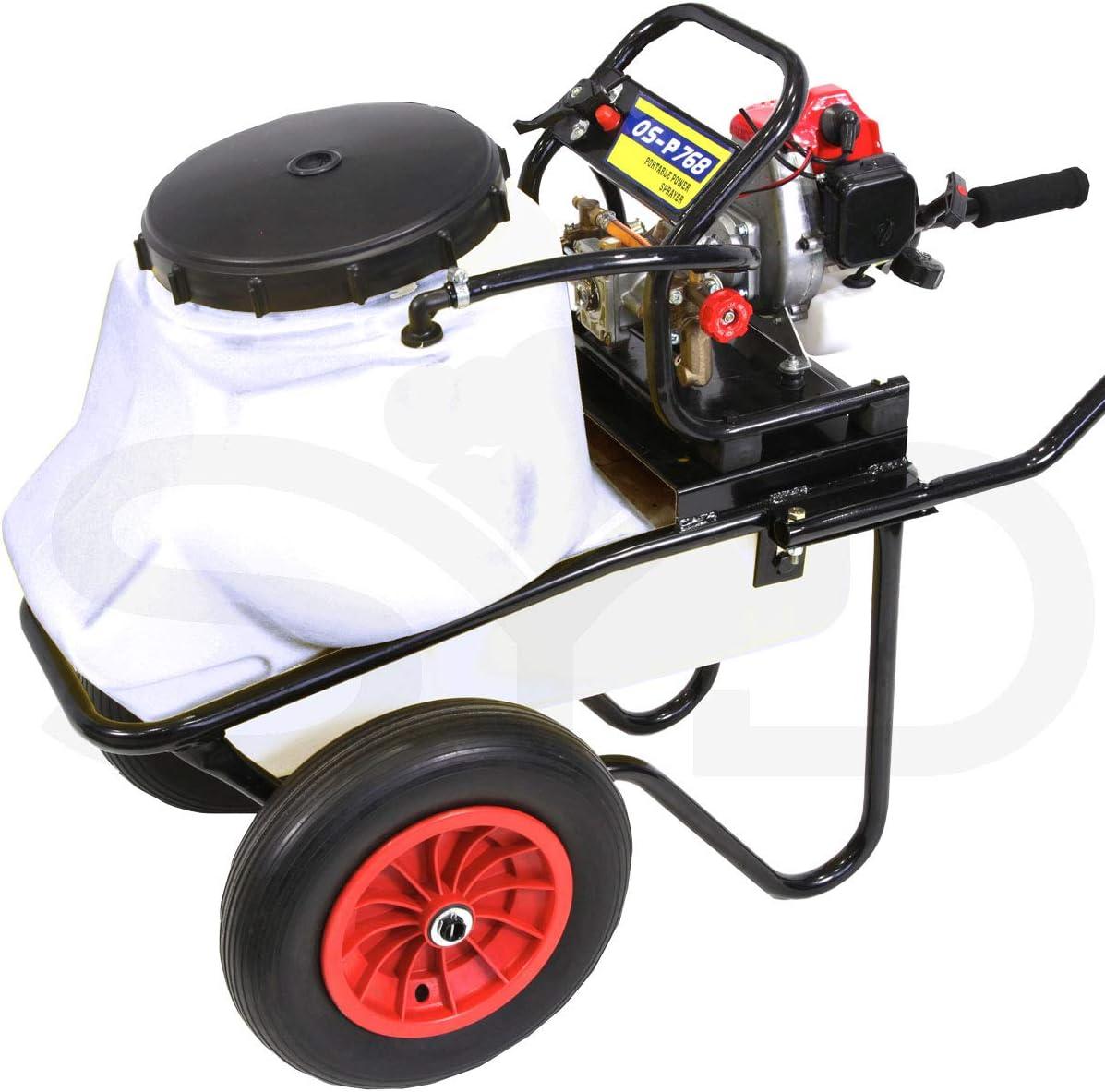 Carretilla para fumigar. Motor 4 tiempos 30bar 10ltr. Bomba de 2 pistones de acero con cabeza cerámica.