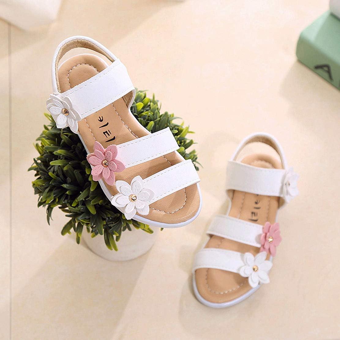 QZBAOSHU Sandalias de Vestir para Ni/ña con Tres Flores Zapatos Cuero