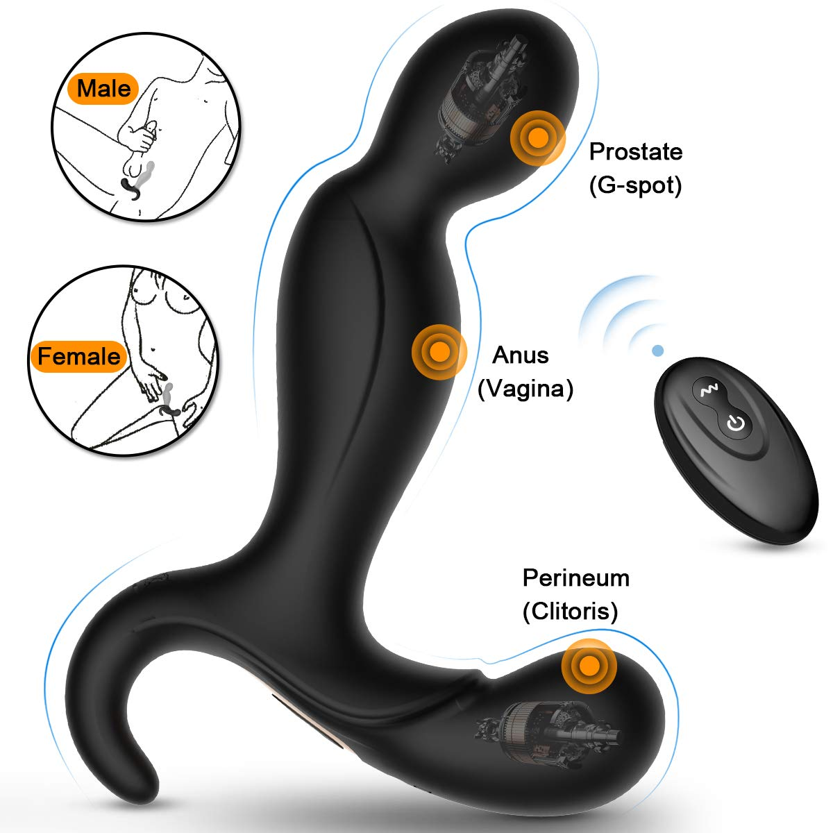 Male Vibrating Prostate Massager, 2 Powerful Motors Rechargeable Anal Vibrator with 10 Stimulation Patterns Remote Control Waterproof Butt Plug Anal Sex Toys for Men, Women & Couples
