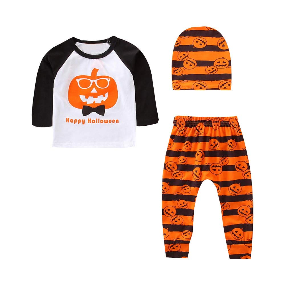 BHYDRY Halloween Toddler Baby Boys Clothes Pumpkin Tops Striped Pants Outfits 3Pcs Set Costume