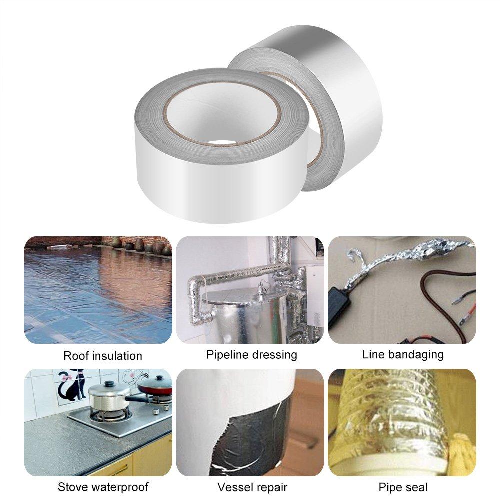 Zerodis 2'' x 164ft Silver Aluminium Foil Tape Adhesive Sealing Heat Shield Tape for Duct Metal Repair Insulation by Zerodis (Image #2)
