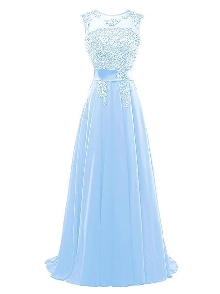 1fc74aef1a268 Bess Mujer Chifón elegante larga de encaje vestidos de noche fiesta  nupcial