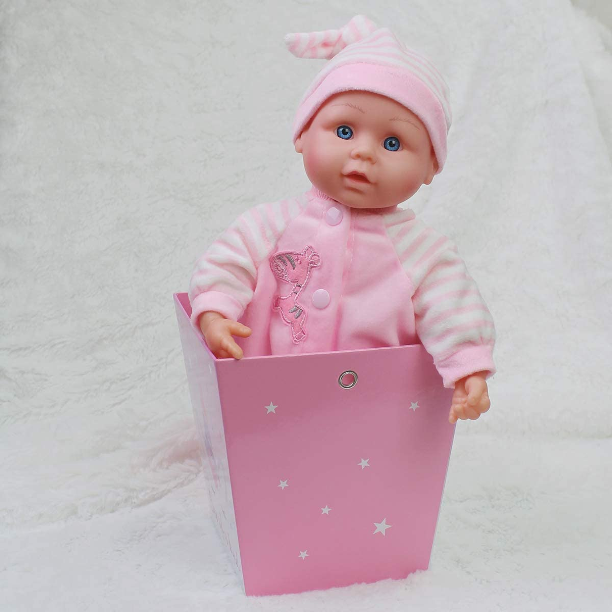 """100/% Washable Removable Pink Rompers in White Shoes Cute Soft Body Vinyl Play Toy for Sweet Collection 15/"""" Realistic Baby Girl in Pink Gift Box"""