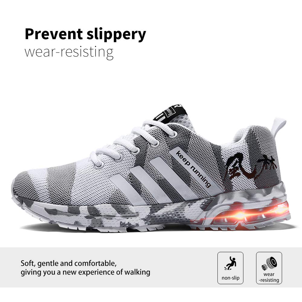 Wonvatu Walking Shoes for Women Men Lace Up Mesh Sport Running Shoes Lightweight Athletic Fashion Sneakers