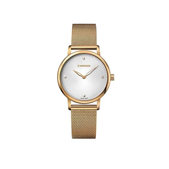 WENGER Reloj Analógico para Mujer de Cuarzo con Correa en Acero Inoxidable 01.1721.114: Amazon.es: Relojes