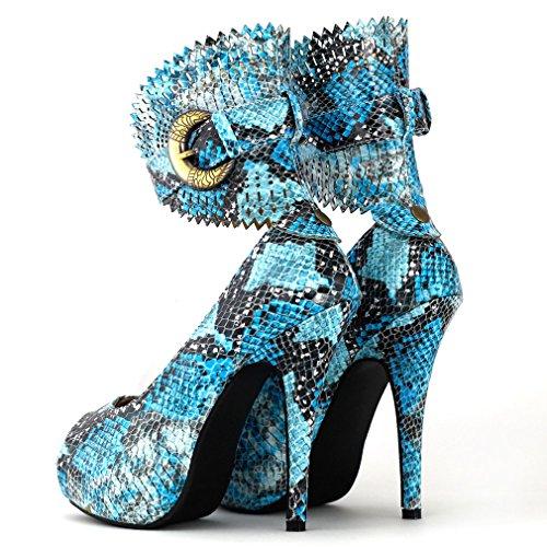 Mostrar historia multicolor patrón Floral o Animal Gladiador plataforma bombas, LF30402 multicolor - Snake Blue
