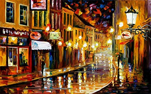 Old Original Art Painting - LIGHTS OF OLD TOWN is an OVERSIZED, ONE-OF-A-KIND, ORIGINAL OIL PAINTING ON CANVAS by Leonid AFREMOV
