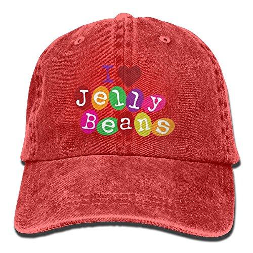 - E-Isabel I Love Jellybeans Adjustable Visor Cotton Washed Denim Hats Red
