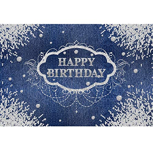 CSFOTO 5x3ft Happy Birthday Backdrop for Girls Lady Birthday Party Background for Photography Birthday Party Decoration Banner Denim Glitter Diamonds Adults Girls Portrait Studio Props