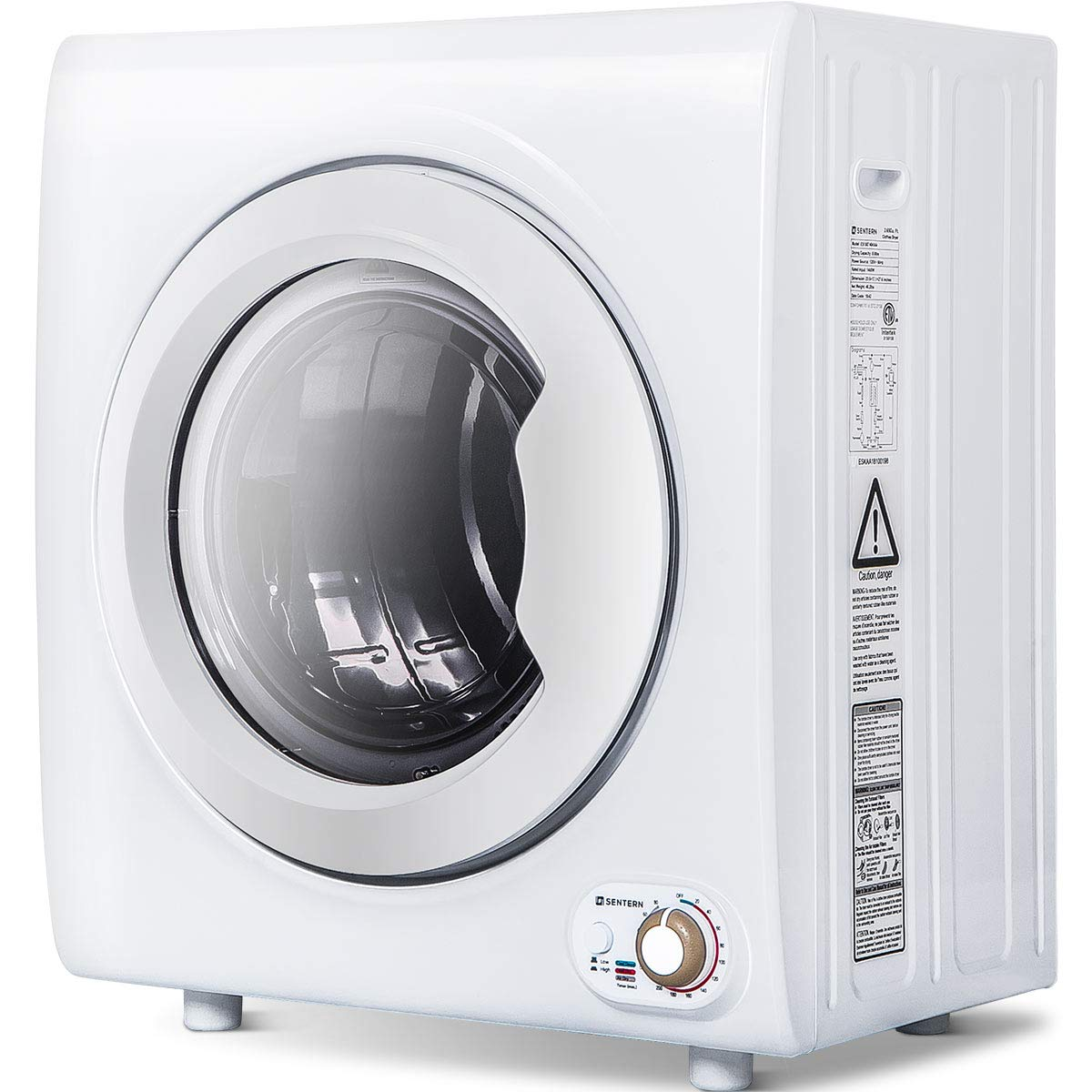 Sentern 2.65 Cu.Ft Compact Laundry Dryer - 8.8 LBS Capacity Portable Clothes Dryer with 1400W Drying Power (White) Merax