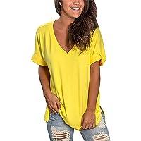 Voqeen Camiseta de Manga Corta para Mujer de Color sólido Blusa Suelta de Verano con Cuello en V Cotton Casual Blusa
