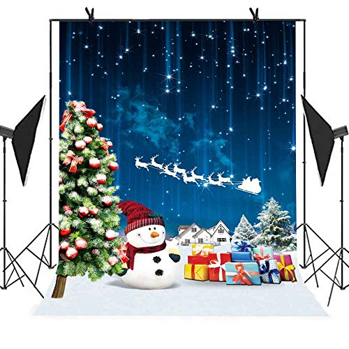 MEETS 5x7ft Christmas Backdrop Christmas Tree Snowman Gift Starry Sky Picture Holiday Party Photo Booth Shoot Video YouTube Background NANMT013 (Snowman Starry)