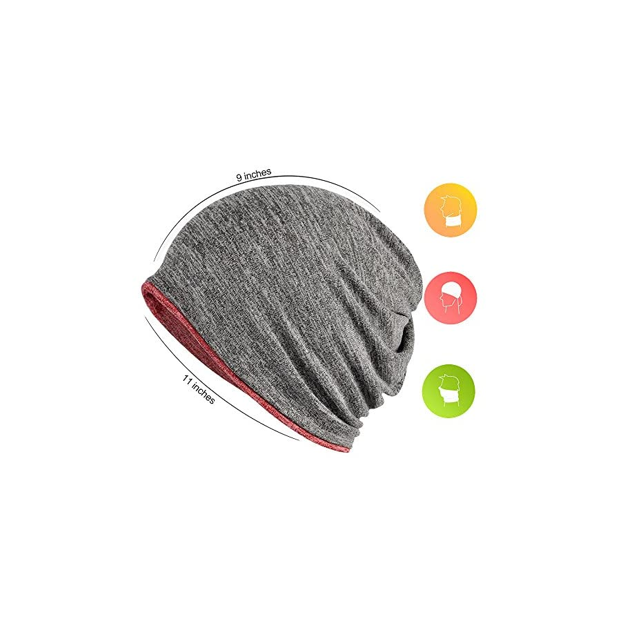 FORTREE 2 Pack Multifunction Slouchy Beanie for Jogging, Cycling