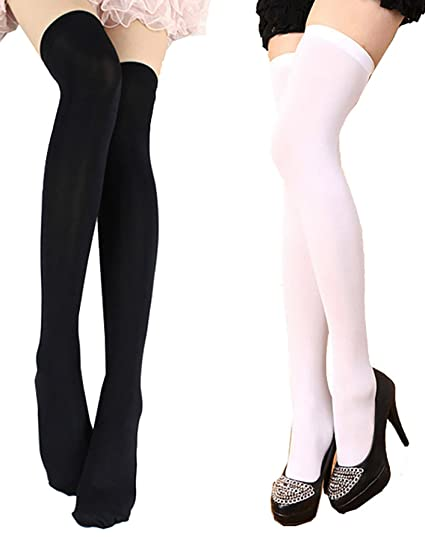 0e0b3db798a TESOON Women s Opaque Thigh High Stockings Sexy Solid Color Over Knee  Stockings at Amazon Women s Clothing store