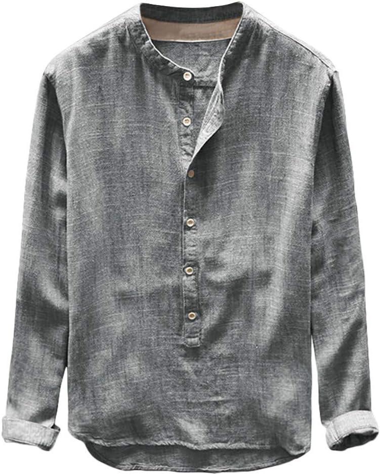 ღLILICATღ Manga Corta de Hombre Hombre otoño Invierno botón Casual Lino y algodón de Manga Larga Blusa Superior Top Casual de Camisa de algodón y Lino con Botones Sueltos de Color sólido