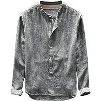 Camisa de Manga Larga de Lino para Hombre, con Botones NDGDA