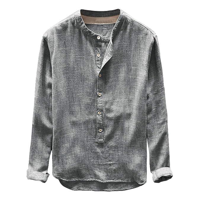 BaZhaHei Manga Corta de Hombre Hombre otoño Invierno botón Casual Lino y algodón de Manga Larga Blusa Superior Top Casual de Camisa de algodón y Lino con ...