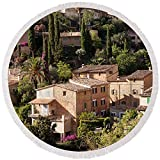 Pixels Round Beach Towel With Tassels featuring ''Elevated View Of The Deia, Serra De'' by Pixels
