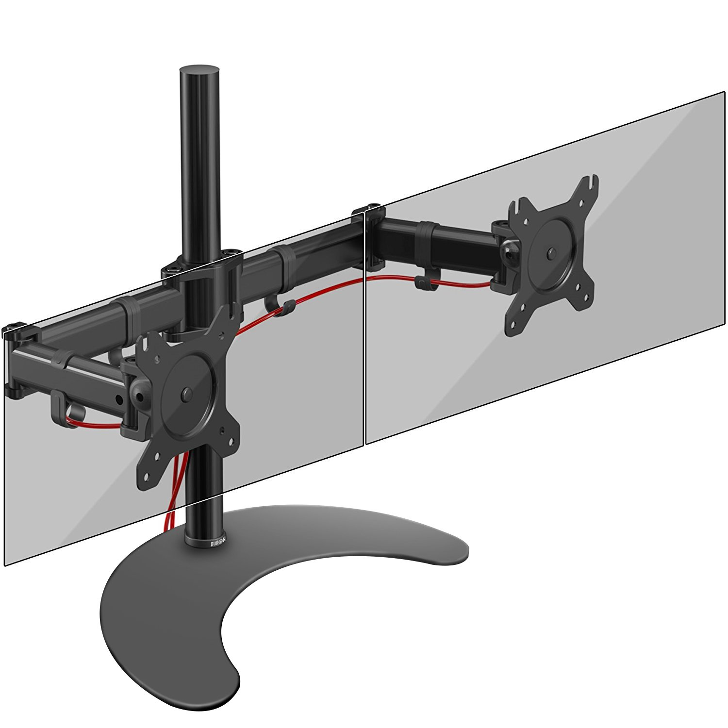 Duronic Steel DM25D1 Single LCD LED Freestanding Desk Mount Monitor Arm Stand Bracket with Tilt and Swivel + 10 Year Warranty - (Adjustable Monitor Arm: Tilt ±90/35°|Swivel 60°|Rotate 360°) DM25D2
