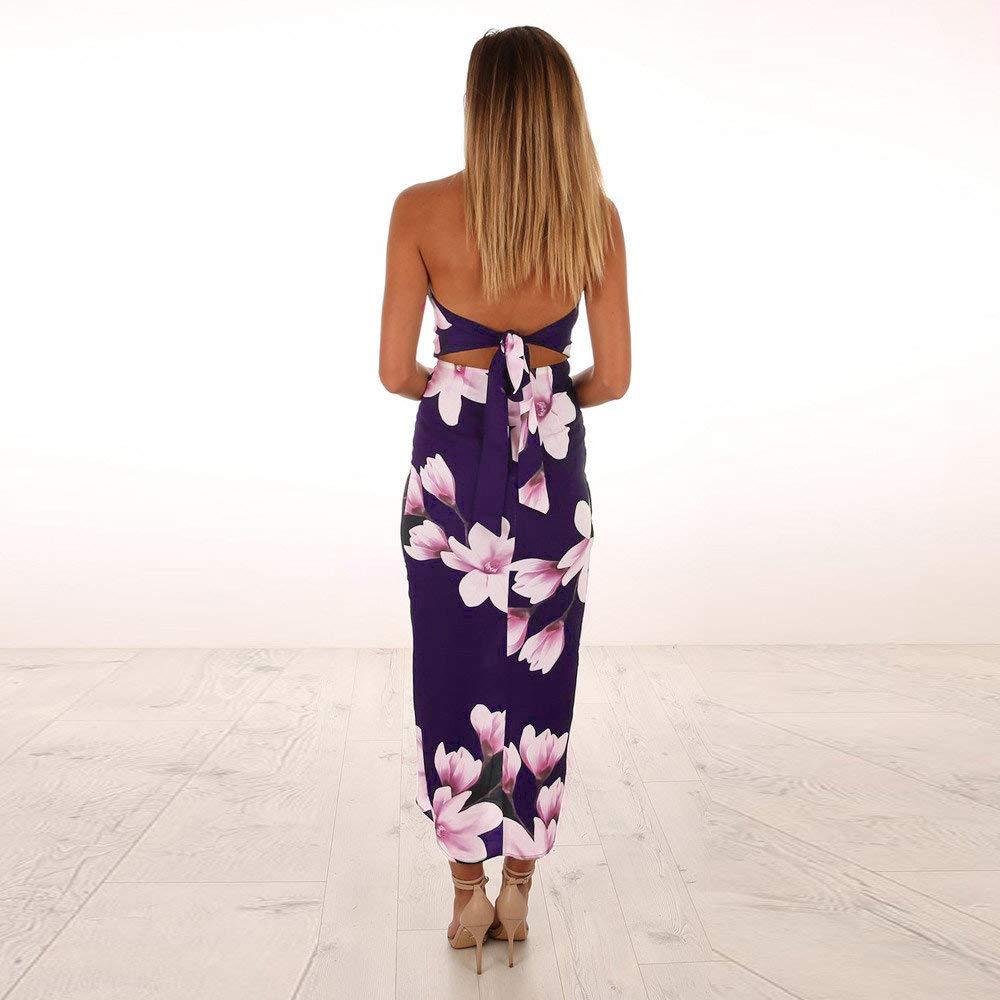 2019 Womens Maxi Dresses,Womens Off Shoulder Floral Print Beach Summer Sundress Backless Maxi Dress for Pary Wedding