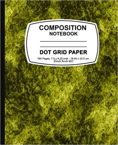 Dot Grid Notebook: Yellow Marble,Dot Grid Notebook, 7.5 x 9.25, 160 Pages For for School / Teacher / Artist / Student Composition Book
