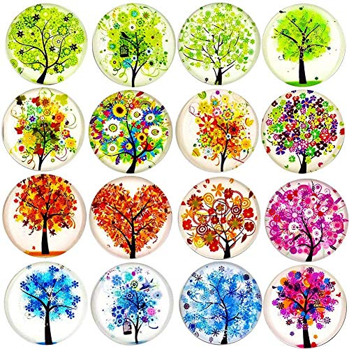 16 Pieces Pretty Glass Refrigerator Magnets, Beautiful Tree of Life Fridge Magnets for Refrigerator,Office,Cabinets,Whiteboards,Photos,Great Magnet Set for Decor