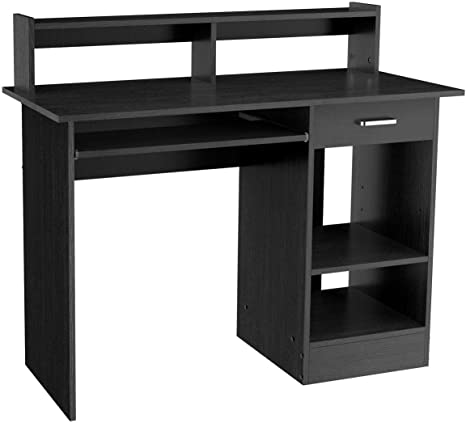 Yaheetech Computer Desk With Keyboard Tray Sturdy Study Writing Table For Home Office Writing Desk With Storage Shelves Pc Laptop Study Table Black Furniture Decor