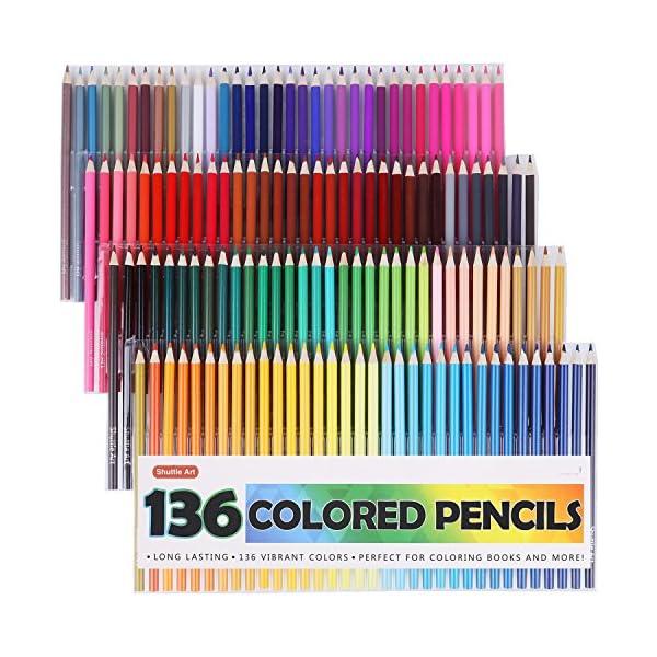 136 Lápices de colores Shuttle Art, juego de lápices de colores para adultos, libros para colorear