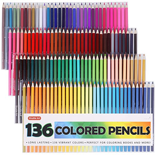Shuttle Art 136 Colored Pencils, Soft Core Color Pencil Set for Adult Coloring Books Artist Drawing Sketching...