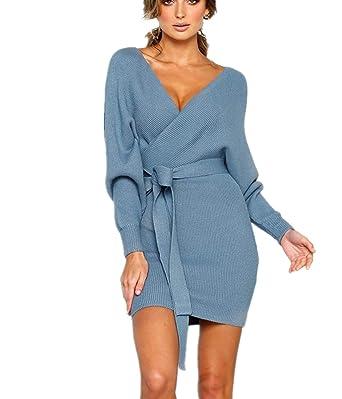 525bbbc3934ccd Fanessy Femme Robe en Tricot Pull Mode Noir Gris Longue Robe Gilet ...