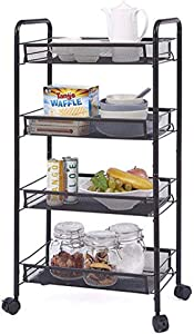 ZIOZERTT Rolling Utility Cart 4-Tier Metal Storage Organizer Cart with Lockable Wheels,Heavy Duty Serving Cart for Kitchen, Bathroom, Office, Coffee Bar(Black,4 Tiers)