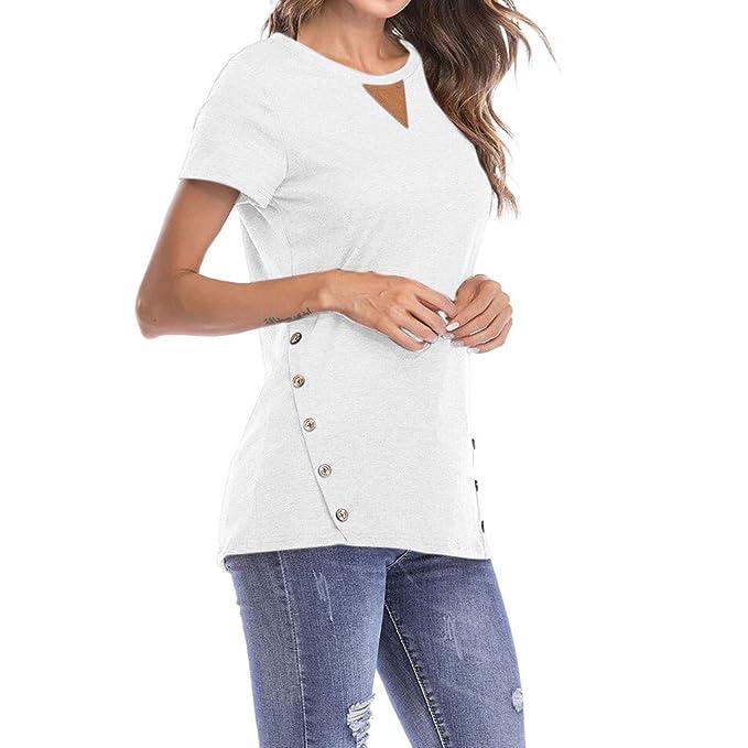 Blusa De Mujer Lonshell Primavera Verano Casual Solid Loose Patchwork Tops Cuello Redondo Manga Corta botón: Amazon.es: Ropa y accesorios