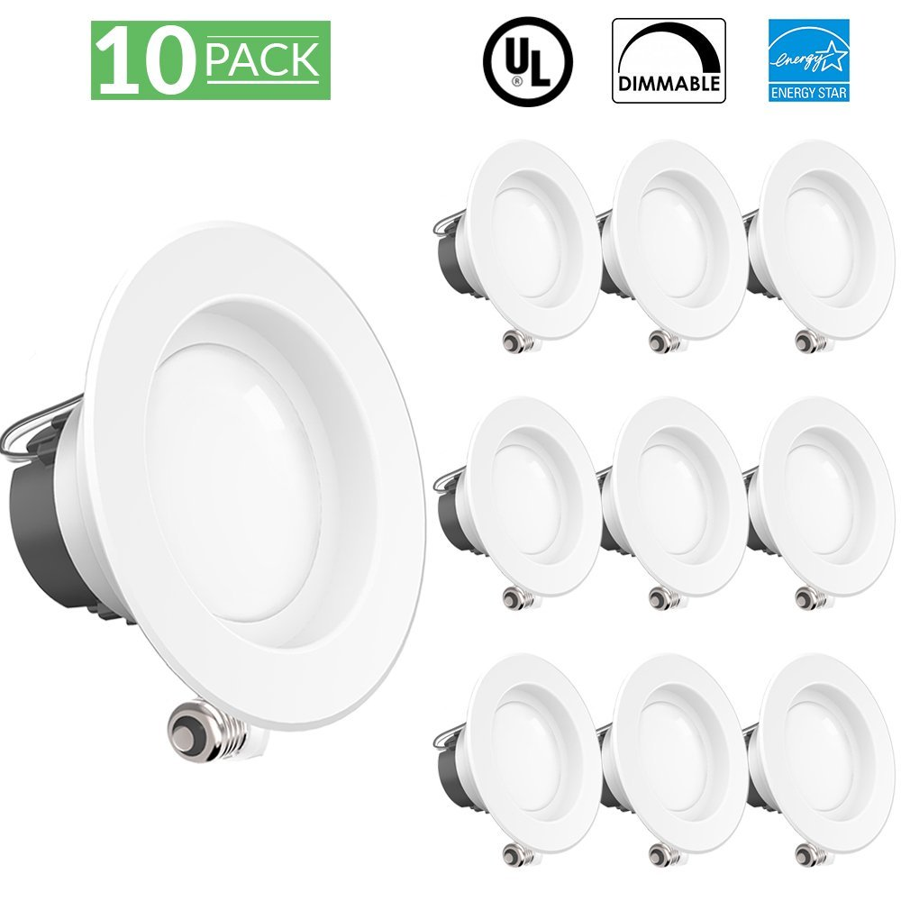 Sunco Lighting 10 PACK- 11W 4inch ENERGY STAR UL listed Dimmable LED Downlight Retrofit Recessed Lighting Fixture -4000K Cool White LED Ceiling Light, Wet Location 660LM Title 24 ROHS, 5 Year Warranty