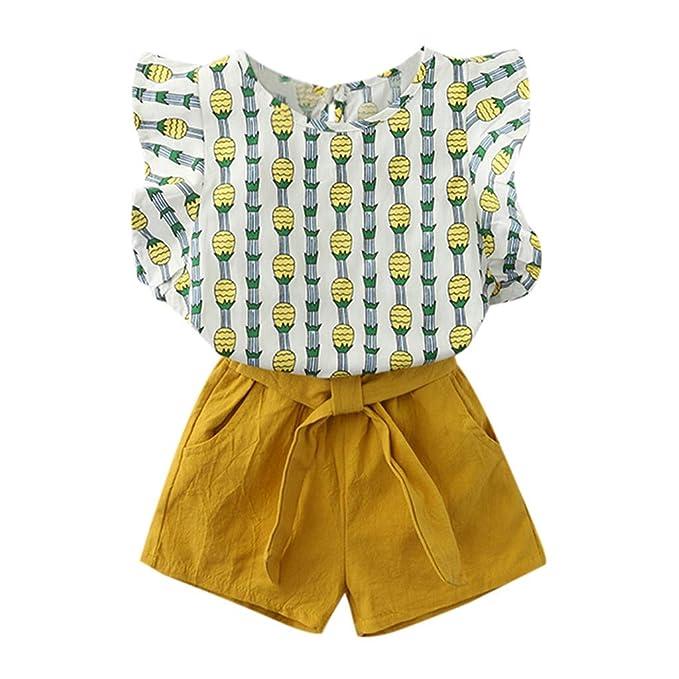 Ropa Bebé Niñas 2PC Camiseta Tops sin Mangas Estampado de Frutas + Pantalones Cortos para Bebés Niños 2-7 años Holatee: Amazon.es: Ropa y accesorios