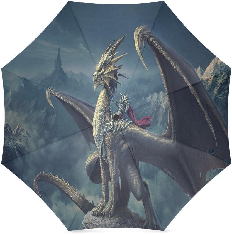 Fantasy Dragon Fire Cool Automatic Folding Umbrella Sunshade Tri-fold Rain Umbrella